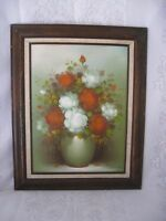 Antique Original Painting Oil on Board - White and Red Roses - Signed by artist