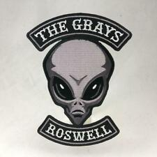 The Grays alien embroidered patch UFO Roswell paranormal motorcycle club biker