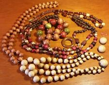 Vintage Wooden Jewelry Lot necklace earrings beads sets