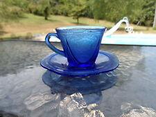 COBALT BLUE ROYAL LACE CUP AND SAUCER HAZEL ATLAS DEPRESSION GLASS 1930'S