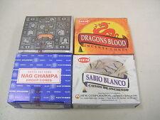 4 Assorted Incense Cones: White Sage Dragons Blood Satya Nag Champa Super Hit