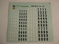DECAL 1/43 NUMERI mm 4-5  NERI BIANCHI  F1 24h LE MANS INDY GENERICA DECALS