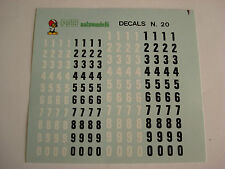 DECALS KIT 1/43 NUMERI mm 4-5  NERI BIANCHI  F1 LE MANS RALLY DECALCOMANIA DECAL