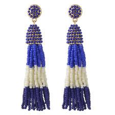 Boucles d'Oreilles Doré Pompon Mini Perle Multicolore Bleu Marine Blanc AA22