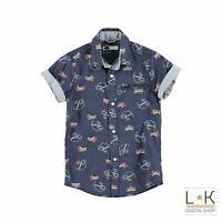Camicia in Cotone con stampa Blu Ragazzo Sarabanda S624