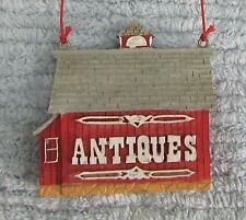 ANTIQUES Composite Hand Painted Red Barn 1990's Christmas Tree Ornament FREE S/H
