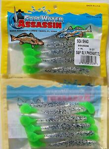 """20 SALTWATER BASS ASSASSIN 4"""" SALT & PEPPER PHANTOM CHARTREUSE TAIL SEA SHAD"""