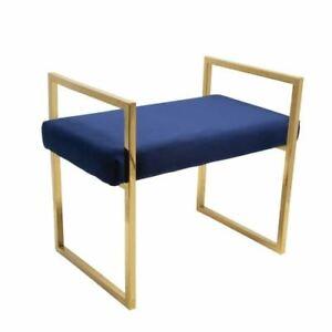 Navy and Gold Velvet Bench