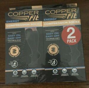 Copper Fit Energy Black Compression Socks Unisex Size L/XL 2 Pairs NWT