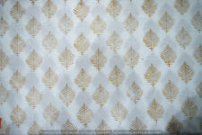 Gold Hand Block Print 3 yard Running 100% Cotton Voile Fabric Sewing Craft