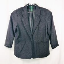 Hunt Club Wool Jacket Blazer Size 18 Horn Shaped Toggle Duffle Button