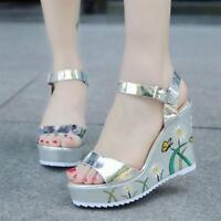 Ankle Strap High Wedge Heels flower  Platform Sandals Shoes new Women Open Toe