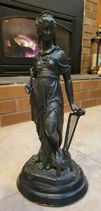 Late 1800s Spelter Victotian Lady Statue Harp Trumpet