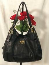 COACH Maggie Madison Soft Black Leather Double Straps Shoulder Bag #16503
