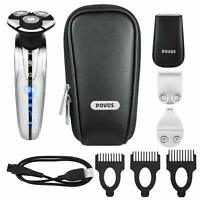 Mens Electric Razor Rotary Shaver USB Rechargeable Trimmer & Travel Bag For MEN