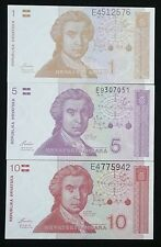 Lot of 1, 5 and 10 CROATIA dinars - 1991 -first independent release - AU-UNC