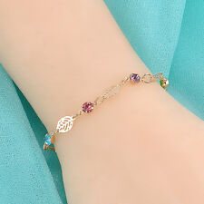 Simple Women Girls Colorful Rhinestone Leaf Chain Bracelet Bangle Gift
