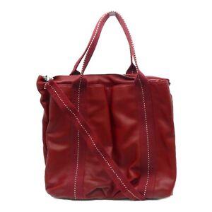 Hermes Caravane GM Shoulder Tote Bag Red Calfskin Leather