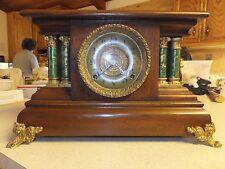 Antique Ingraham Rare Mahogany Mantel Shelf Clock 8 day Ornate Dial Runs Well