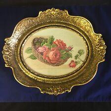 Vintage Red & Pink Roses Needlepoint in Oval Plaster/Gesso Gold Gilt Frame