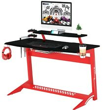 SixBros. Gaming Computertisch Gamer Tisch Racing Carbon Optik Rot GT-008/8189