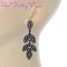 Dramatic Black Large Floral Leaf Drop Statement Earrings W/ Swarovski Crystals