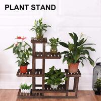 Wood Plant Stand Indoor Outdoor Flower Rack Shelf Multi Tier Holder Garden Decor