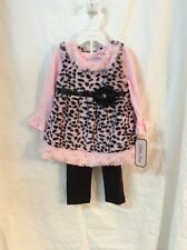 Little Lass 3 Piece Pink & Black Leopard Tunic with Long-sleeves & Leggings