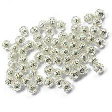 100 Silver Plated Round Ball Filigree Spacer Beads Hollowed BEADS Charms 6mm