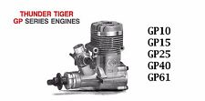 THUNDER TIGER GP  Model Engine Instructions ~ Parts List & Numbers