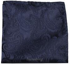 New Brand Q Men's microfiber Pocket Square Hankie Only paisley navy blue formal