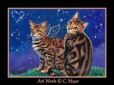 Angel Bengal Cat Stars Heart Night Sky ACEO Limited Edition Art Miniature Print