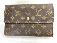 Auth LOUIS VUITTON Long Trifold Wallet Purse Monogram Leather Brown 58211693