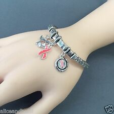 Silver Stretchable Breast Cancer Awareness Pink Ribbon Charms Bangle Bracelet