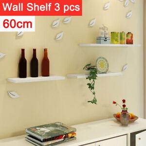 Set of 3 Floating Wall Shelves Storage Display Shelf White NEW UK