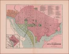 WASHINGTON D C antique city map, original 1886