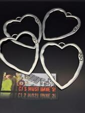 4 Large Tibetan Silver Heart Statement Pendants for Lagenlook Charms Cord Chain
