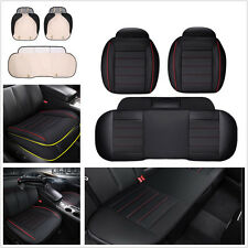 3 Pcs PU Leather Charcoal Comfortable Car Seat Covers Cushion Full Surround Mats