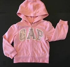 NWT BABY GAP GIRLS ARCH LOGO HOODIE 4T 4 YEARS PINK SEQUINS HOOD CLASSIC PINK