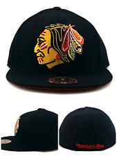 Chicago Blackhawks New Mitchell & Ness Retro XL Logo Black Fitted Era Hat Cap 7