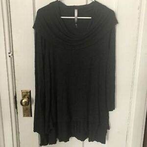 Kensie Dress Size L Gray Tunic Tiered Grey Large Long Sleeve