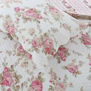 NEW! ~ COZY CHIC ELEGANT PINK RED IVORY WHITE ROSE SHABBY SOFT COUNTRY QUILT SET