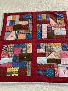 "Vintage Handmade Fancy Hand Embroidery Stitching Crazy Quilt 29"" x 29"" #415"