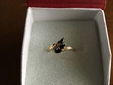 10k Yellow Gold Sapphire W/Diamond Accents Ring Size 6