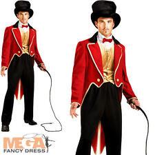 Ringmaster Mens Circus Lion Tamer Fancy Dress Ring Master Uniform Costume + Hat