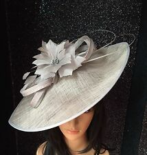 NIGEL RAYMENT SILVER GREY TEARDROP DISC HAT WEDDING ASCOT MOTHER OF THE BRIDE