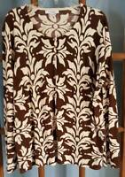 Dressbarn Woman 18/20 Button Front Cardigan Sweater Brown Ivory Print
