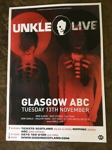 Unkle , rare Glasgow Gig Concert Poster From 2008