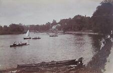 "ANTIQUE ALBUMEN BRITISH PHOTOGRAPH ""THAMES BOATS AT RICHMOND UK"" 1893"