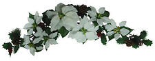 """White Poinsettia 35"""" Swag Garland Christmas Decor Artificial Flower Home Office"""